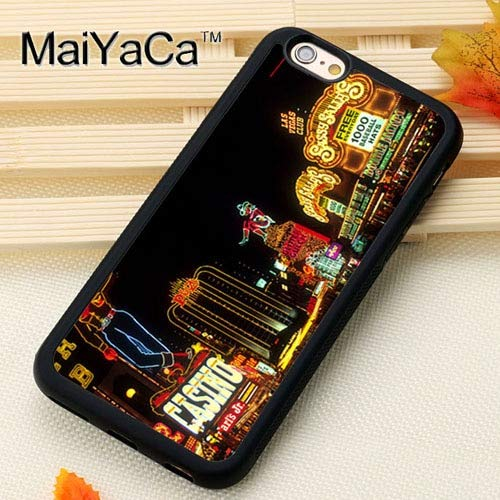 MISC Black Old Las Vegas iPhone X Case The Strip at Night XS Cover Downtown Nightime Life Lights Real Photo Image Picture Lit Up Casino Gamble Gambling, Plastic