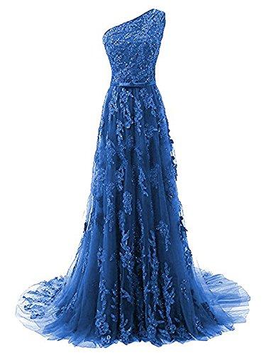 Damen Blau Spitze Kleid Ein Schulter Festkleid Abendkleider Schleppe Lang Ballkleider 6YqHCw