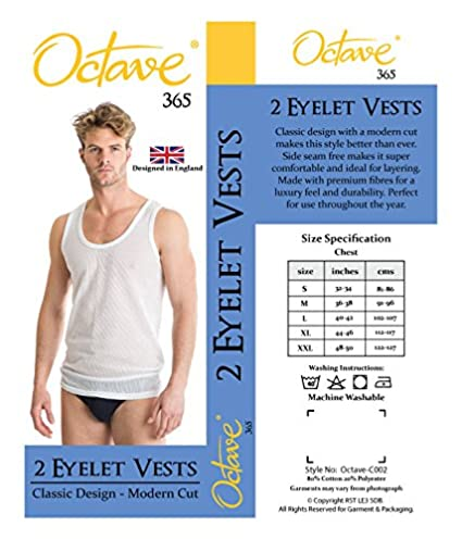 Octave 6 Pack Mens Cotton Rich Classic Eyelet String Mesh Net Sleeveless Vests