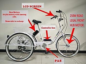 Triciclo plegable eléctrico para adultos, ruedas de 24 pulgadas, sistema de cambios Shimano de 6 velocidades, motor de 250 W, varios colores, ...