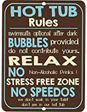 Uptell Vintage Retro Style Funny Hot Tub Rules Metal Tin Sign Metal Wall Door Sign 8x12 Inch