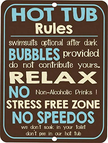 Price comparison product image Uptell Vintage Retro Style Funny Hot Tub Rules Metal Tin Sign Metal Wall Door Sign 8x12 Inch