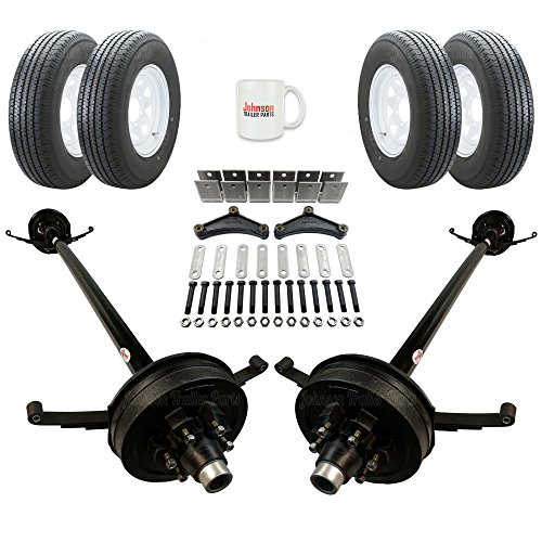 Tandem 5,200 lb Electric Brake Trailer Axle Kit - Includes Trailer Tires & Wheels (89