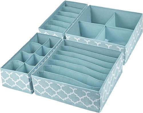 Homyfort 4 Pcs Dresser Drawer Organize,Closet Organizer, Drawer Dividers and Cloth Storage Bins Box for Underwear, Bras, Socks, Clothing Blue