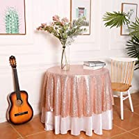 """PartyDelight 50"""" inch Round Rose Gold Sequin Tablecloth, Wedding, Dessert, Party, Banquet"""