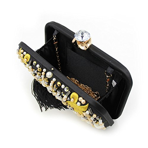 short Ladies Purses Evening Wedding Bags tassel Clutch TuTu Handmade beaded Long Black and Women Female Clutch chains Bag Clutches 6q0txw7T