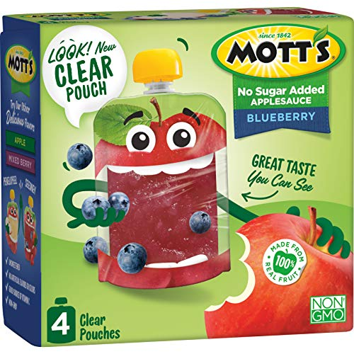 Mott's No Sugar Added Blueberry Applesauce, 3.2 Ounce (Pack of 24) Clear Pouch, Perfect for on-the-go, No Added Sugars or Sweeteners, Gluten Free and Vegan