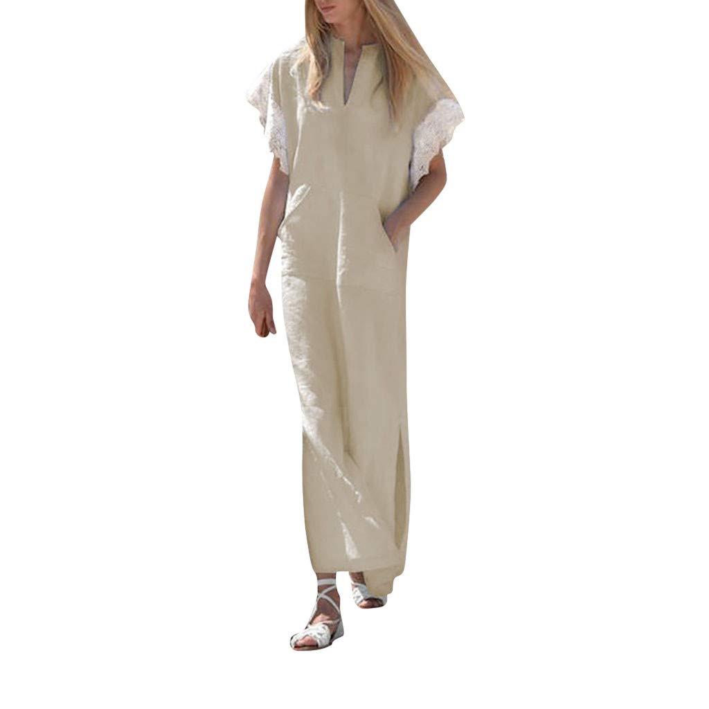 MCYs Damen Spitzen Kurzarm V-Ausschnitt Beiläufige Lose Baumwolle Tunika Oversize Kleider Blusekleid Strandkleid Partykleid