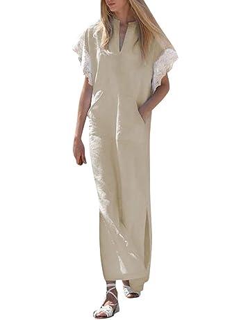 Vestido Largo Manga Corta Ribete de Encaje Casual Elegante Simple Yesmile ❤ Mujer Cordón Manga