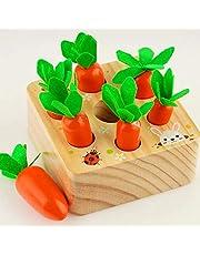 Coriver Pedagogiska leksaker stapel spel för 1 2 3 år gammal baby, morötter träleksak Montessori Plugging Toys Harvest matchande spel för tidigt barn lärande förskoleutbildning barngåvor