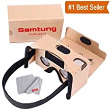 Google Cardboard Virtual Reality Glasses, Includes Head Strap, Suction Cup Mount for Secure Phone Placement + Nose & Forehead Padding, Compatible With iPhone, Samsung Galaxy, & More, by Samtung
