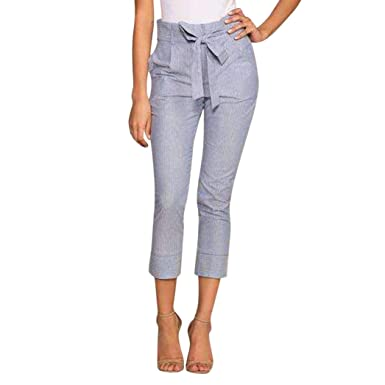 199af0f8938 Botrong Women High Waist Harem Pants Women Stripe Elastic Waist Stripe Pants  (S