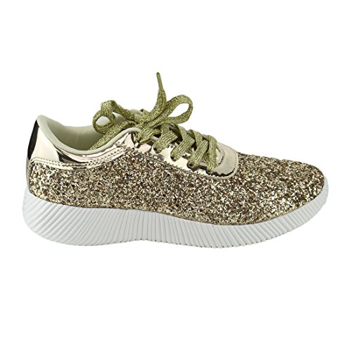 Evigt Fp13 Womens Sparkling Glitter Snörning Modegatan Sneakers Guld