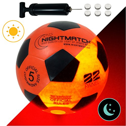 NightMatch Light Up Soccer Ball Flaming Red Edition INCL BALL PUMP and SPARE BATTERIES - Inside LED lights up when kicked - Glow in the Dark Soccer Ball - Size 5 - Official Size & Weight -orange/black -