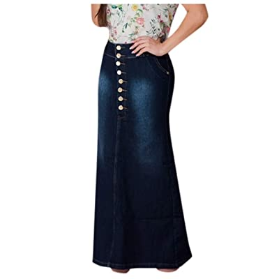 iYYVV Womens Casual Front Button High Waist Washed Denim A-Line Skirts Long Jean Skirt: Clothing