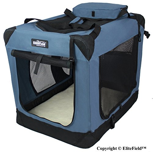 EliteField 3-Door Folding Soft Dog Crate, Indoor & Outdoor Pet Home, Multiple Sizes and Colors Available (36″L x 24″W x 28″H, Blue Gray) For Sale