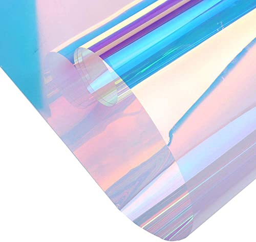 Sunice 54 x100ft Roll Holographic Iridescent Window Film Colorful Glass Stickers Adhesive Stained Glass Vinyl Anti UV Rainbow Effect Tint for Home Building Decorative