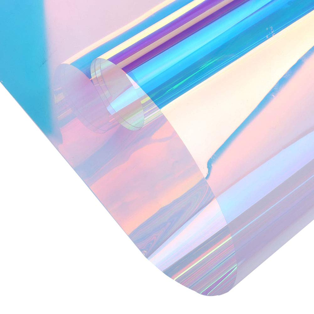 Sunice 54'' x33ft Roll Holographic Iridescent Window Film Colorful Glass Stickers Adhesive Stained Glass Vinyl Anti UV Rainbow Effect Tint for Home Building Decorative by Sunice
