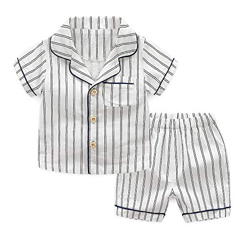 ACESTAR Toddler Boys Girls 2-Piece Sleepwear Loose Fit Kids Cotton Pjs Set Short Sleeve Shirt & Pants Pajamas(L-W0,2T)