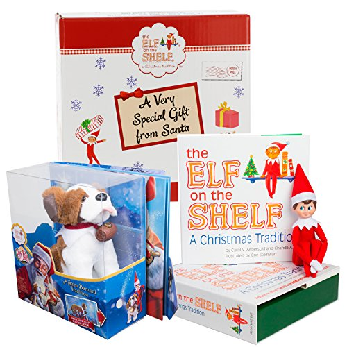 Elf on the Shelf Pet Set - St. Bernard Plush with Blue Eyed Elf Boy - In Box Direct From North Pole (Elf From Santa Clause)