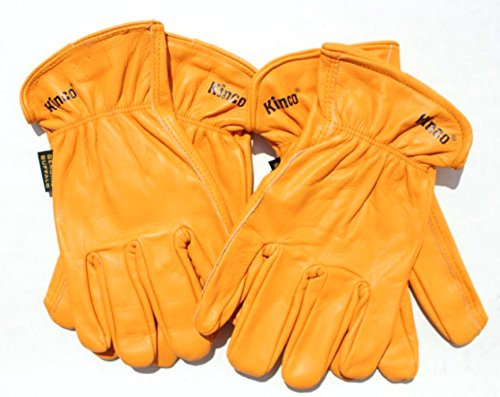 Kinco Buffalo Leather Working Gloves for Men, 2-PACK - Tough & Durable Gloves - Buffalo Skin Lasts Longer - GLOVES for WORK! (Large)