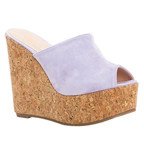 LAICIGO Womens Wedge Platform Slide on Sandals Open Toe Cork Faux Suede Dress Summer Slippers Shoes White