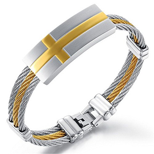 Mens ID Bracelet 18K Gold Line Cross Triple Strand Woven Stainless Steel Cuff Bangle Christian Wrist Band