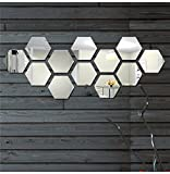 Wall1Ders - Hexagon-Silver (Pack Of 12) 3D Wall Decor 3D Acrylic Mirror 3D Mirror Wall Stickers 3D Aacrylic Wal Stickers For Home & Offices.
