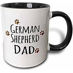 3dRose 153912_4 German Shepherd Dog Dad Mug, 11 oz, Black