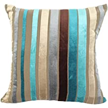 "YJ Bear Colorful Striped Panne Velvet Pillow Case European Vintage Soft Cushion Cover Standard Size Cushion Sham Decorative Body Cushion Protector With Invisible Zipper Turquoise 28"" X 28"""