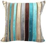 YJ Bear Colorful Striped Panne Velvet Pillow Case European Vintage Soft Cushion Cover Standard Size Cushion Sham Decorative Body Cushion Protector With Invisible Zipper Turquoise 24'' X 24''
