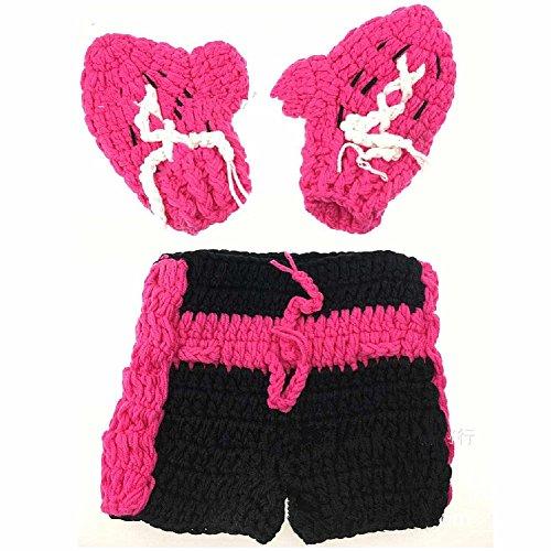 Minibaby 2/Set Newborn Baby Boy Girls Unisex Boxing Gloves & Shorts Set 0-1months Baby 3-4months Baby Photo (Fancy Dress Boxing Gloves)