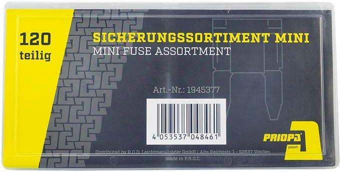 PRIOPA Sicherungssortiment Mini Flachsicherung Sicherungen Sicherung Auto Autosicherung 5-30A 11 mm Mini Fuse Assortment 120 teilig