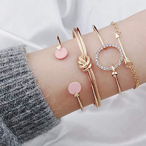 TTO Bangles - 4PC Women Bracelets Cuff Bangles Tied Knot Arrow Charms Strand Bracelet Set Jewelry Crystal Punk Gold Silver Brazaletes 1 PCs