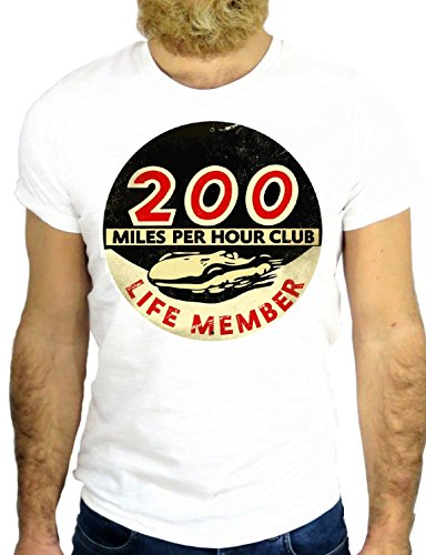 T SHRIT JODE Z1274 200 MILES PER HOURS COOL ROCK CARS VINTAGE NICE LOGO RACE GGG24 BIANCA - WHITE S