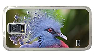 Cheap carrying Samsung i9600 cases Victoria Crowned Pigeon blue feathers PC Transparent for Samsung S5,Samsung Galaxy S5,Samsung i9600