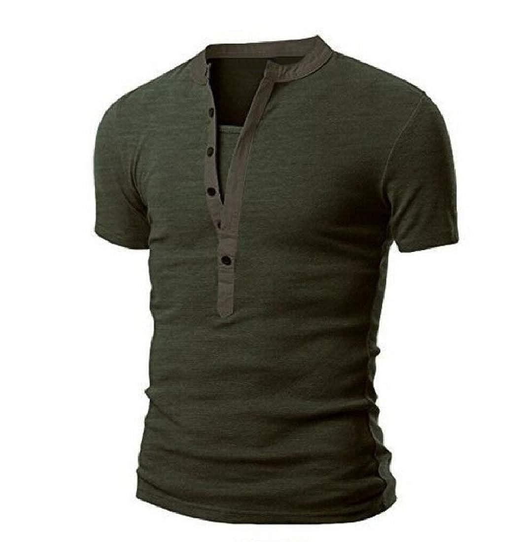Mfasica Men Spring Summer Short Sleeve Tee Slim Fit Button Spliced Tops