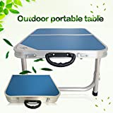 Blue Camping BBQ Aluminum Portable Folding Table Chairs Foldable Desk and 2pcs Chairs