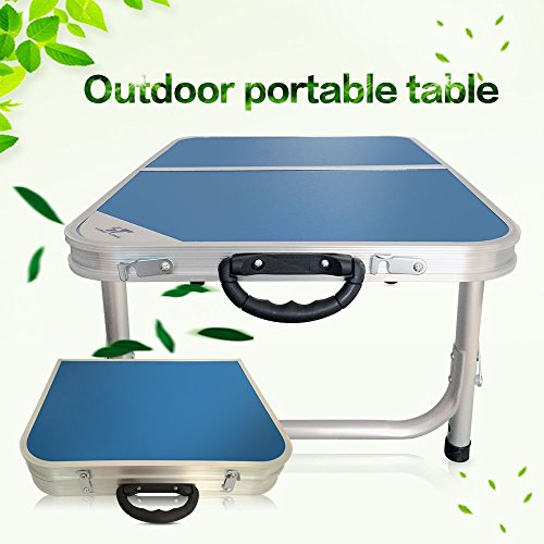 Blue Camping BBQ Aluminum Portable Folding Table Chairs Foldable Desk and 2pcs Chairs by Table Folding