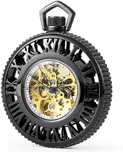 SEWOR Exquisite Hollow Carving Automatic Self Wind Pocket Watch with Two Chains Leather & Metal (Black)