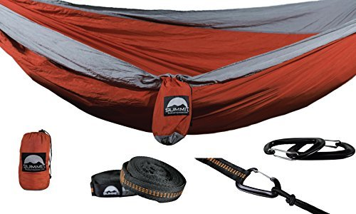 Summit Goods DoubleNest Camping Hammock with STRAPS INCLUDED - Parachute Nylon Ultralight Fabric - XL Double & Single Person - Hiking Tent Beach Chair Travel w/Accessories [並行輸入品] B07R4W8RM4
