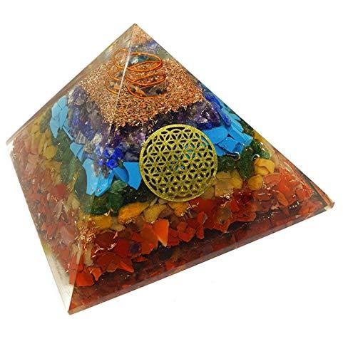 Pura Esprit Orgonite Chakra Pyramid - EMF Protection 7 Chakra Healing Orgone Energy Accumulator Orgonite Crystal Pyramid for - Meditation Psychic Boost Yoga Anti-Anxiety Kit