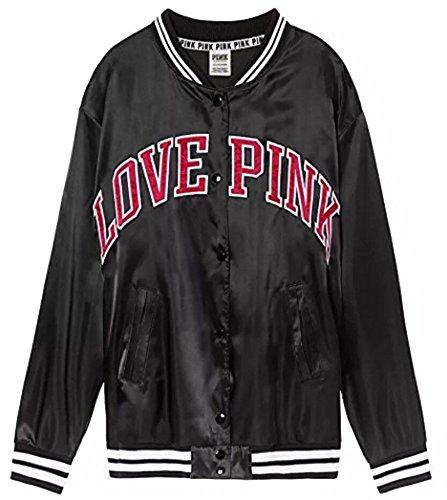 VS Pink Victoria's Secret Pink Satin Bomber Jacket Black Snap Buttons NWT (XSmall) -