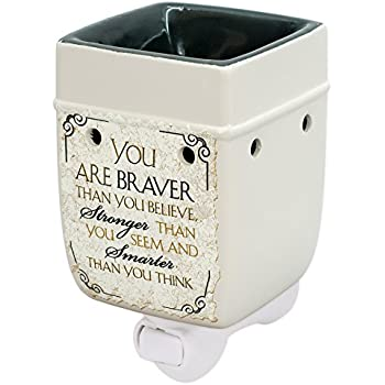 Elanze Designs You are Braver and Smarter Ceramic Stoneware Electric Plugin Outlet Wax Warmer