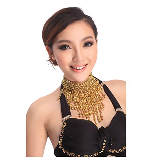 (Adealink Girl Belly Dance Necklace Small Bell Beads Chain Jointed Tassel Pendant)