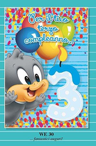 Tarjeta Felicitación 3 años Tercer cumpleaños niño celeste ...