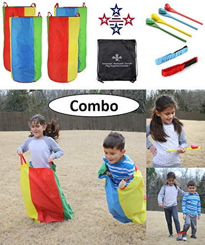 Backyard Games - 3 Fun Outdoor Relay Race Games for Kids and Adults; Potato Sack Race, Egg and Spoon Race, 3 Legged Relay Race, with 1 Carry Storage Bag (Relay Race Combo)