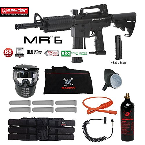 Spyder MR6 w/ DLS & Spare FS 9 Round Magazine Corporal Paintball Gun Package - Black