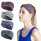 4 Pack Women Sports Headband Non Slip Elastic sweat Sports Cross Headbands for Women Girl Wicking Headband Sweatband Absorbing Moisture for Yoga,Pilates, Riding, Basketball,Running,Fitness,Dancing