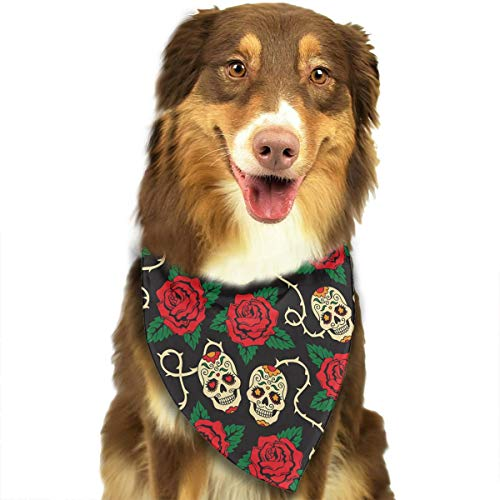 OURFASHION Amazing Rose Skull Bandana Triangle Bibs Scarfs Accessories Pet Cats Puppies.Size is About 27.6x11.8 Inches (70x30cm).